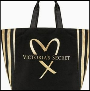Victoria's Secret Black and Gold Tote Bag